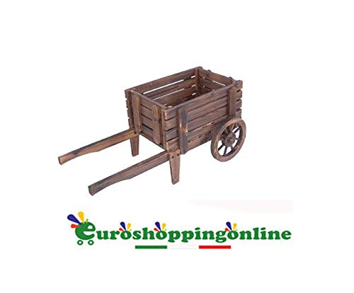 Virix Euroshoppingonline Fioriera portavaso sottovaso carriola in Legno arredo Giardino CM 90X46X40 H