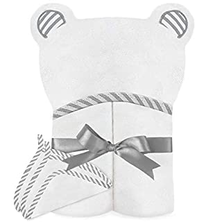 Spiny Babbler Organic Bamboo Hooded Baby Towel with 2 Washcloths - Large Baby Hooded Towel for Newborn, Infant & Toddlers - Perfect Soft Baby Towel for Boys and Girls (Grey)