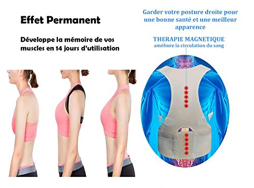 Correcteur de Posture Dorsale Magnétique Rose S, Homme, Femme, Orthèse du Haut du Dos, Soutien de la colonne, Support…