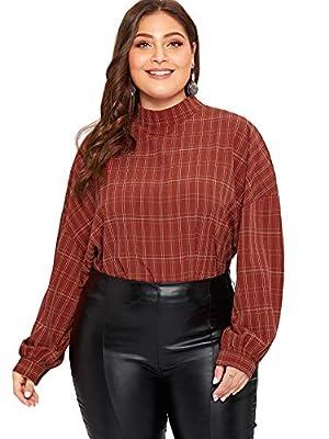 Romwe Women's Plus Size Elegant Mock Neck Long Sleeve Plaid Blouse Top