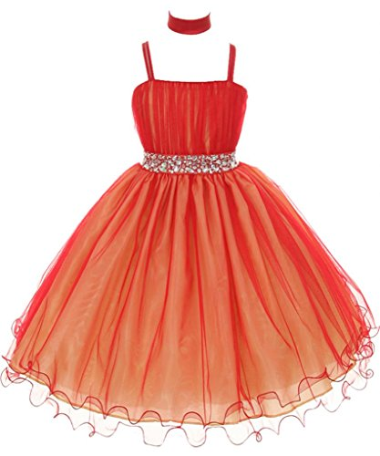 AkiDress Chic Two-Tone Tulle Dress with Glimmer Stone Waist for Flower Girl RedGold -