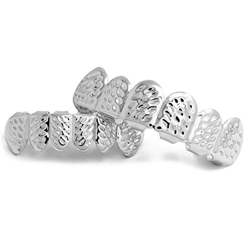 (Jewel Town New Custom Fit Silver Plated Diamond Cut Hip Hop Mouth Teeth Grillz Caps Top & Bottom)