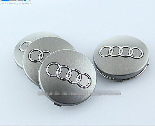 Set Of 4 pcs 60mm Wheel Center Caps Hubcaps For Audi Silver