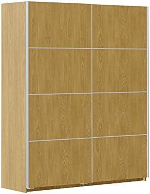 Armario ropero Color Roble 180x220cm de 2 Puertas correderas, Mueble de Dormitorio de Gran Capacidad de Almacenamiento. 220cm Altura x 180cm Ancho x 60cm Fondo: Amazon.es: Hogar