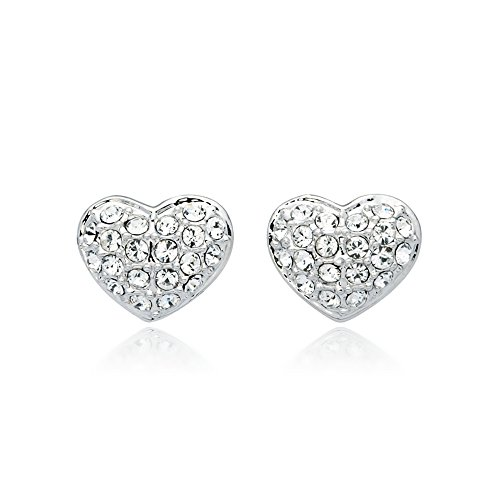 MYJS Alana Rhodium Plated Pave Heart Stud Earrings with Clear Swarovski Crystals ()