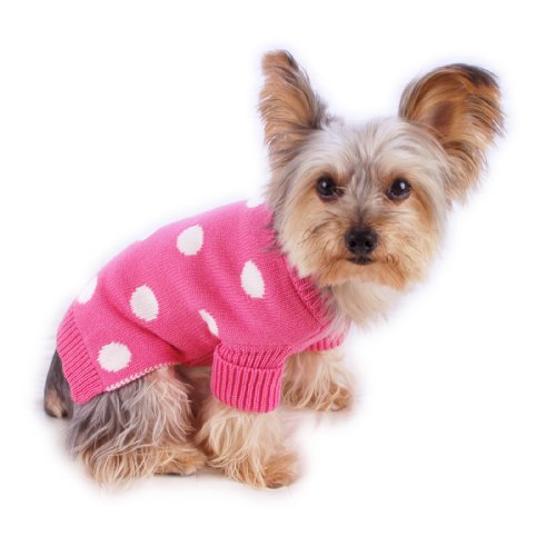 Stinky G French Pink Polka Dot Dog Pet Sweater with Rolled Neckline...
