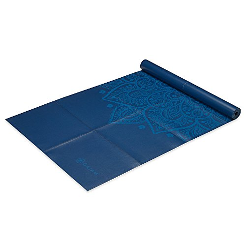 Gaiam Foldable Yoga Mat, Blue Sundial, 2mm