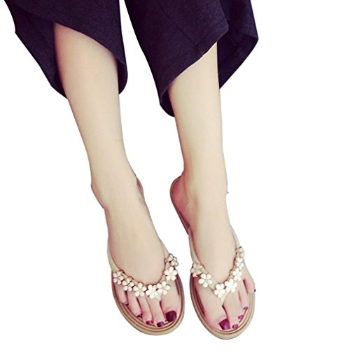 VEMOW Sandals for Women, Slippers Gladiator Wedge Tan Closed Toe Platform Sparkly High Low Heels Roman Flats Flip Flops Thongs, Fashion Solid Color Flower Slipper Beach Shoes Beige