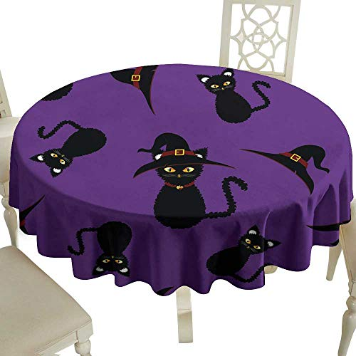 (WinfreyDecor Stain-Resistant Tablecloth Halloween Background - Black Cat Witch Vector Illustration for Kitchen Dinning Tabletop Decoration)