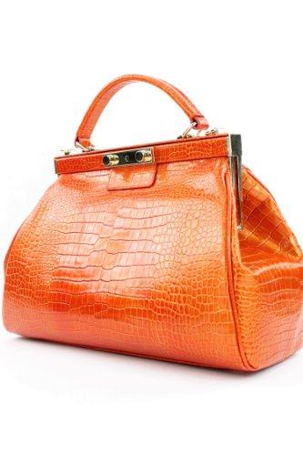 ital. Handtasche Arzttasche Damentasche Echt Leder & Kroko & Strauß Tasche F6410 Kroko Orange