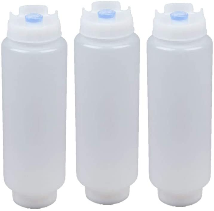 FIFO Squeeze Bottle Refillable 16 oz Blue Tip (3 Pack)
