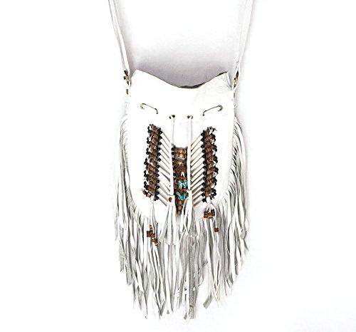 White Boho Bag | Real Leather | Fringe Purse | Bohemian Bags | Hobo Tote ()
