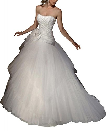 elegante Netto mit Brautkleider BRIDE Hochzeitskleider ueber GEORGE Einfache Satin Elfenbein bowknot FaqwUxPpE4