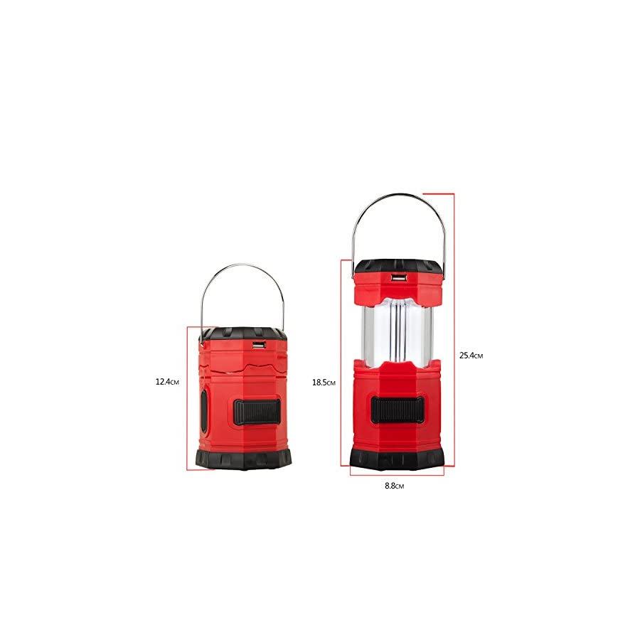 """TANSOREN Portable LED Camping Lantern Solar USB Rechargeable or 3 AA Power Supply, Built in Power Bank Compati Android Charge, Waterproof Collapsible Emergency LED Light with S"""" Hook"""