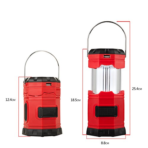 "TANSOREN LED Solar USB Rechargeable 180 Lumens Waterproof Camping Lantern Portable Emergency with ""S"" Hook"