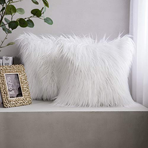 Phantoscope Pack of 2 Luxury Series Throw Pillow Covers Faux Fur Mongolian Style Plush Cushion Case for Couch Bed and Chair, White 18 x 18 inches 45 x 45 cm (Pillow Shag White)
