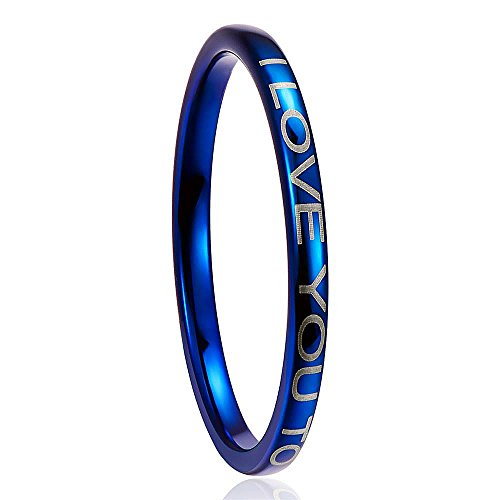 Nuncad Men's 2MM Blue Tungsten Wedding Ring Engraved I LOVE TO THE MOON AND BACK Size 8 by Nuncad