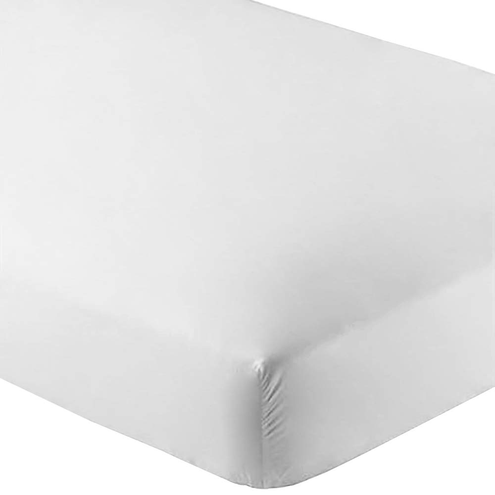 Bare Home Fitted Bottom Sheet Premium 1800 Ultra-Soft Wrinkle Resistant Microfiber, Hypoallergenic, Deep Pocket (Split Queen, White)