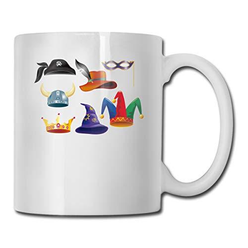 Tom Boy Mardi Gras Carnival Jester Hat Novelty Cool Funny Coffee Tea Mugs Cups For Men Women, 11 OZ, White
