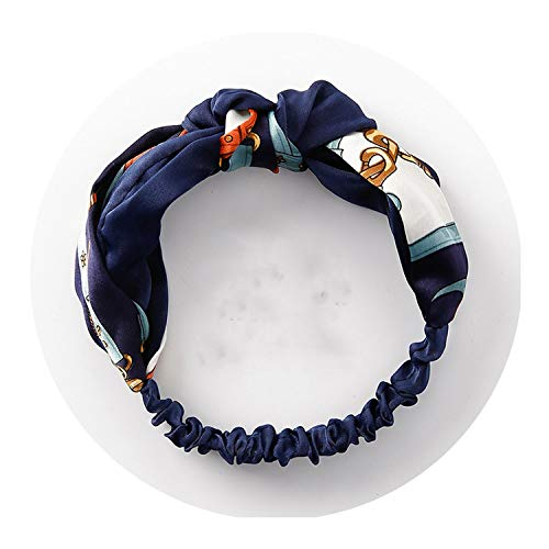 Women Fabric Cross Knotted Bow Chiffon Floral Hair Band Korea Headdress ladies Hoop,navy