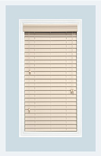 Delta Blinds Supply Custom-Made Faux Wood Horizontal Window Blinds, 2 Inch Slats, Alabaster, Inside Mount; Inside Window Casing Size: 37″ W x 64″ L Review