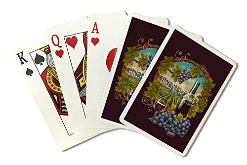 - Brentwood, California - Merlot Wine Scene - Contour 99527 (Playing Card Deck - 52 Card Poker Size with Jokers)