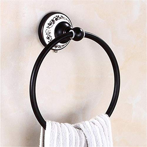 Towel Rings Bathroom Hardware Porcelain Antique Brushed Vintage Towel Ring Black Porcelain Towel Holder Bathroom Accessory 803O ()