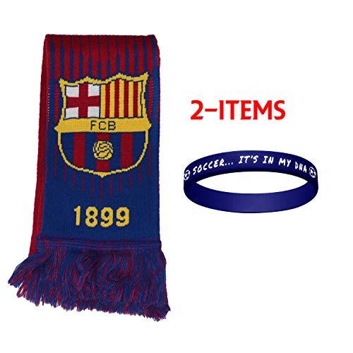 FC Barcelona Scarf Reversible + Silicone Soccer Quote Set 2 Pcs FCB001 FCB Barcelona ()