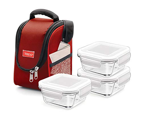Treo Insulated Lunch Bag with 3 x Leak Proof Glass Meal Prep Containers BPA Free, 30 oz. (Red)