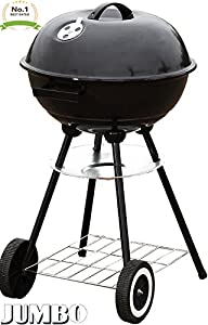 "Unique Imports #1 Jumbo Original Kettle 22"" Charcoal Grill Outdoor Portable BBQ Grill Backyard Cooking Stainless Steel for Standing & Grilling Steaks, Burgers, Backyard Pitmaster & Tailgating by Unique Imports"