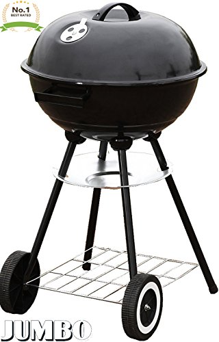 Unique Imports #1 Jumbo Original Kettle 22″ Charcoal Grill Outdoor Portable BBQ Grill Backyard Cooking Stainless Steel for Standing & Grilling Steaks, Burgers, Backyard Pitmaster & Tailgating