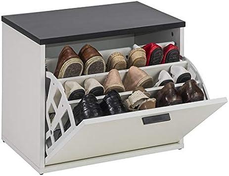 Simmob LUCKY300BLN Banc Coffre /à/Chaussures Blanc 9 Paires 43,6 Panneaux de Fibres de Bois