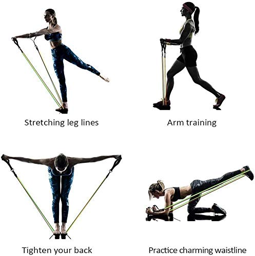 Resistance Bands Set with Stackable Exercise Bands,Non-Slip Foam Hanldes,Carry Bag, Door Anchor Attachment, Legs Ankle…