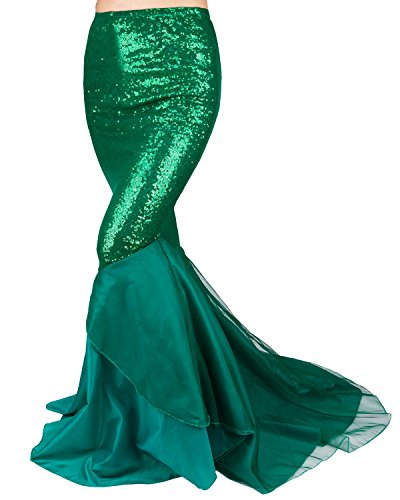 FEESHOW Women's Mermaid Tail Halloween Costumes Party Shiny Sequins Long Skirt Green Medium