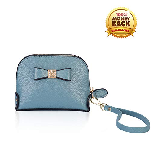 Coin Purse Wallet leather Wristlet Handbags with Wrist Strap Cute Mini Designer Pouch Great Gifts for Women Girls (Bow Blue) by JZE (Image #10)