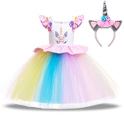 (Baby Girls Unicorn Dress Up Pageant Flower Princess Dresses with Headband Rainbow Tutu Skirt Birthday Party Wedding (5-6 Years(Tag 130), F-Rainbow (with)
