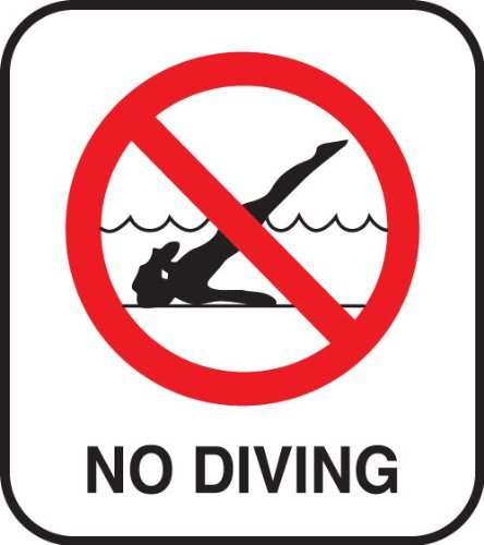 Amazon.com : Inlays, Inc. No Diving Pool Safety Sign With Image ...
