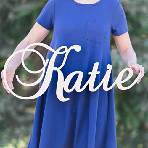 """Custom Personalized Wooden Name Sign 12-55"""" WIDE - KATIE Font Letters Baby Name Plaque PAINTED nursery name nursery decor wooden wall art, above a crib from 48 Hour Monogram"""