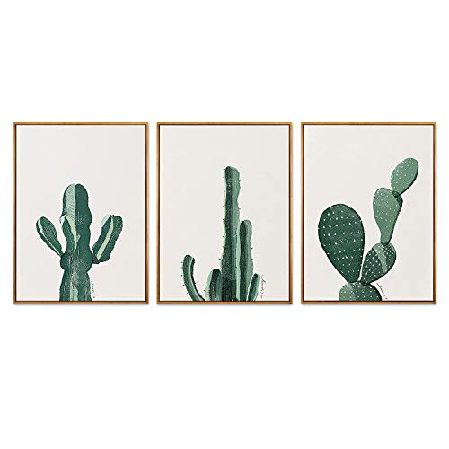 Hepix 3 PCS Canvas Wall Art Cactus Abstract Wall Paitings Wooden Framed Stretched Wall Artwork for Modern Home Decorations Ready to Hang 13x17inchx3 ()