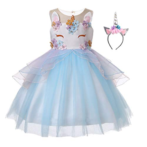 Baby Girls Unicorn Costume Dress Pageant Princess Party Dress Flower Evening Gowns Tutu Dress (Blue, 3T(3-4Y)) by Marosoniy