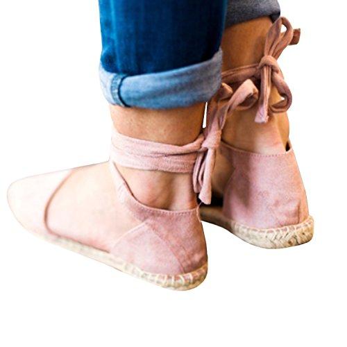 Pompe Autunno 36 43 Davanti Caviglia Donne Scamosciato Piatto Comfort Moda Allacciare Vintage Scarpe Rosa Sandali Chiuse Cheyuan Primavera Estate Casuale Scarpe qUTBxpwPU