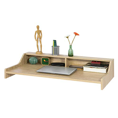 SoBuy Mesa de Pared, Mesa de Escritorio de la Computadora Tabla,2 Estantes,L99 cm, FWT47-N, ES