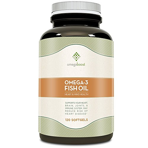 Omegaboost Omega-3 Fish Oil (120 Capsules - 1250mg – Softgel) Lemon (Distilled Omega 3 Fish Oil)