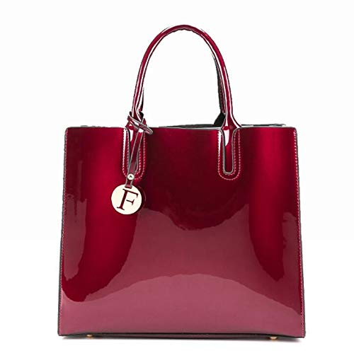 - Luxury Designer Red Patent Leather Tote Bag Handbags Women Lady's Lacquered Handbag Bags for Shoulder Sac