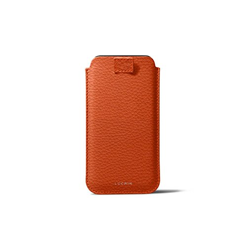 Latest Lucrin - Leather Case with Pull Tab Compatible with iPhone XR and Wireless Charging - Orange - Granulated Leather orange iphone xr case 3