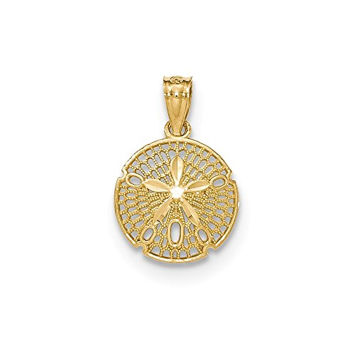 14k Yellow Gold Filigree Sand Dollar Sea Star Starfish Pendant Charm Necklace Shore Shell Fine Jewelry Gifts For Women For Her ()