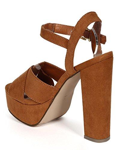Breckelles Cd96 Kvinnor Mocka Peep Toe Tvärband Plattform Chunky Klack Sandal Tan Faux Mocka