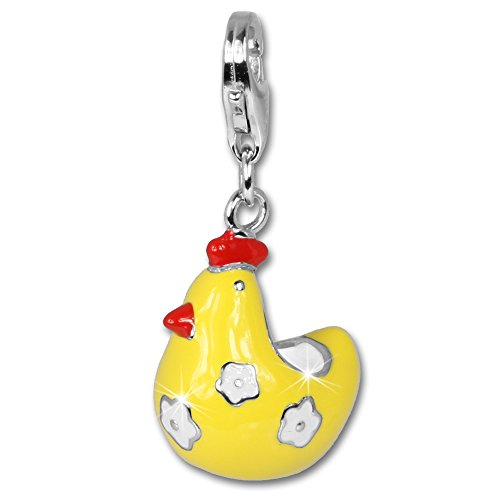 SilberDream Charm funny chicken enamel 925 Sterling Silver Pendant Lobster Clasp FC613 ()