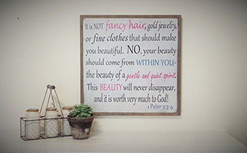 1 Peter 3 Wooden Sign Girls Room Daughters Room Wood Distressed Sign Scripture Sign 24'' x 24'' by Leap of Faith Sign Shop