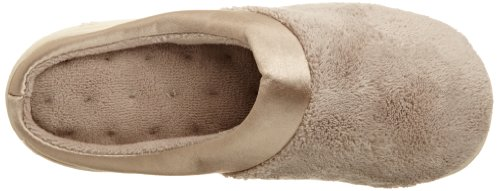 Isotoner Womens Microterry PillowStep Satin Cuff Clog Slippers, Taupe, 8.5-9 B(M) US